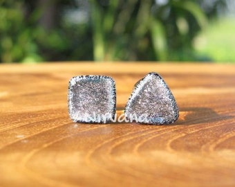 """Triangle & Square Combo Pair Silver Dichroic Glass Plugs 6g 4g 2g 0G 00g  7/16"""" 1/2"""" 9/16"""" 5/8"""" 3/4"""" 1"""" 4 mm 5 mm 6 mm 8 mm 10 mm  25 mm"""