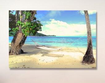 Bora Bora beach hammock photo / Tropical photo | French Polynesia photo | hawaiian decor | ocean photo / palm tree photo / tahiti photo