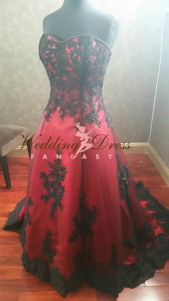 Gorgeous red and black wedding dress by weddingdressfantasy for Red and black wedding dresses