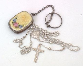 Antique Guilloche Locket | Enamel Locket | Sterling Silver Rosary | Sterling Locket | Chatelaine Finger Chain