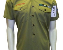 Vintage 1960's Boy Scout Shirt with Patches Size Medium