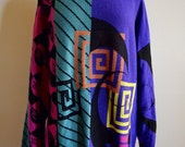 Vintage Geometric Multicolored Knit Sweater, Rad Oversized 80s Sweater