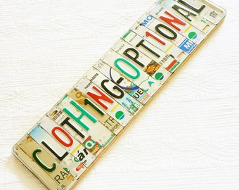 """Vintage Eclectic """"Clothing Optional"""" License Plate Wall Art, Olives and Doves"""