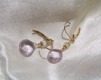 Pink amethyst briolette  heart  Ethiopian opal earrings 14k gold filled interchangeable leverback handmade  MLMR item 788