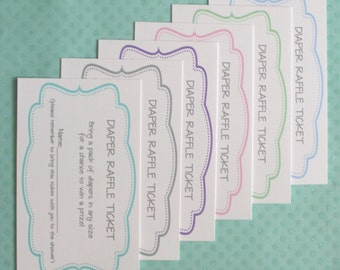 Diaper Raffle Game Tickets Inserts - Baby Shower Diaper Raffle Game Cards to match any themed party - Set of 10 Cards