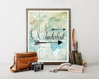 Wanderlust, affiche de voyage, voyage imprimable, devis, voyage Decor, téléchargement de voyage, voyage impression, téléchargement numérique de voyage 0234