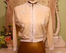 50s Beaded Sweater, Collectible Sweater, Wedding Sweater, Bridal Jacket, Tropicana Original, Cream White Cardigan, Vintage Sweaters, M/S