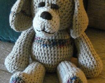 "Crocheted puppy dog stuffed animal doll toy ""Tip"""