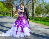 Dip Dye Purple and White Ombre Wedding Dress Strapless Colorful Bridal Ballgown Handmade to Your Measurements