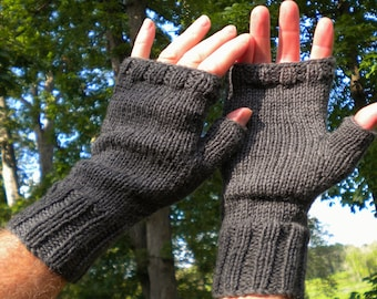 Fingerless Gloves Men's Fingerless Gloves Hand Knit Dark Gray Washable Merino Wool Handwarmers Fingerless Gloves Men's Dark Gray Wool Gloves