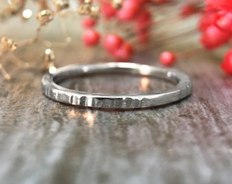 Hammered Ring | Wedding Band | 14K White Gold Ring | Stackable Ring | Thin Ring | 1.4MM Band | Solid Gold | Fine Jewelry | Free Shipping