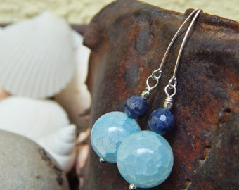 Blue Skies Earrings - One-of-a-Kind - Faceted Raw Sapphires w Crackle Agates & Artisan-Made Sterling Silver Ear Wires / Aid Kids w Autism