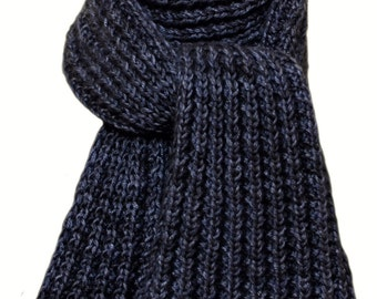 Hand Knit Scarf - Navy Charcoal Kitten Cashmere Silk Wind River Rib
