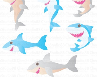 Shark vector - Digital Clipart - Instant Download - EPS, Pdf and PNG files included