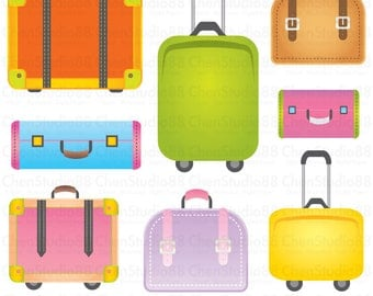 Suitcase vector - Digital Clipart - Instant Download - EPS, PNG files included