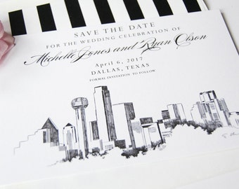 Dallas Skyline Hand Drawn Save the Date Cards (set of 25 cards and envelopes)
