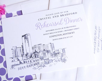 Lexington, KY Skyline Rehearsal Dinner Invitations (set of 25 cards)