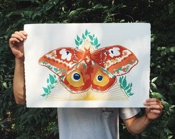 Orange and Yellow Moth Original Screen Print
