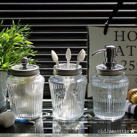 kilner vintage preserve jar bathroom accessory set in clear. Black Bedroom Furniture Sets. Home Design Ideas
