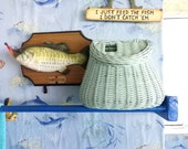 Vintage Blue Fishing Creel, fly fihing basket, gift for him, rustic decor, shabby chic fishing basket