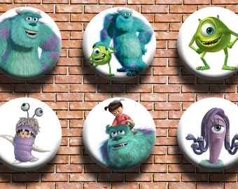 Monsters Inc. 1.25 Inch Button Six Pack