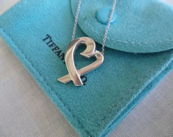 Tiffany & Co PALOMA  loving heart sterling silver pendant chain necklace