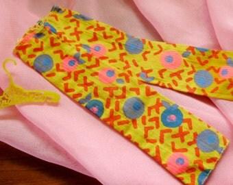1970 Mod Francie #1716 *SUNNY SLACKS* Yellow Print PANTS -Vintage Accessories-Barbie Outfit