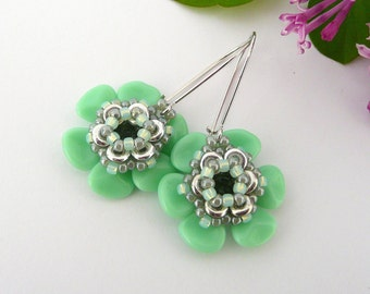 Green Flower Earrings, Dangle Bead Earrings, Long Flower Earrings, Green and Silver Earrings, Gift Idea