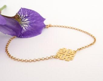 Gold Charm Bracelet, Dainty Bracelet, Geometric Bracelet, Simple Gold Chain Bracelet,  Gold Bracelet for Women