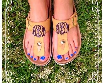 Monogrammed womens sandals/thongs/flip flops