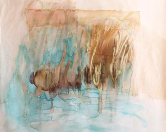 City Lake, original painting, abstract landscape on cotton canvas