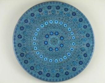 Mandala Wall Hanging - Mandala Art - Mandala Decor - Wooden Mandala Hanging - Blue Mandala Decor - Blue Mandala Wall Art - Blue Dot Mandala