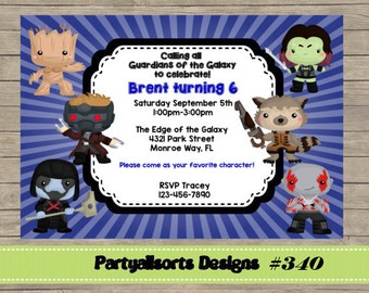 340 DIY - Guardians of the galaxy/ Superhero Invitations Cards.