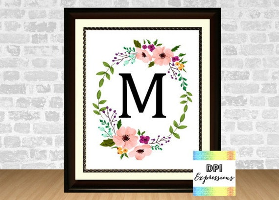 Monogram Wall Decor Diy : Custom monogram initial floral wreath nursery wall decor