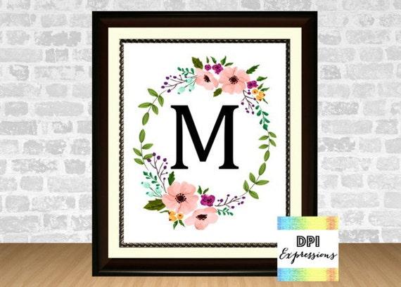 Monogram Wall Decor Diy : Custom monogram initial floral wreath nursery wall decor