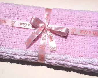 On Sale! Baby Blanket Crochet,Baby Girl Blanket,Crocheted Afghan (Pink)- Precious Little Moments