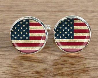 USA flag Cufflinks - North America flag cufflinks USA cufflinks Stars and Stripes flag cufflinks,United States Flag Cuff links #8855