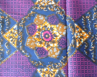 African wax print fabric by the yard, African cotton fabric, Block wax, Ecriture, Purple medallion panel printed cotton