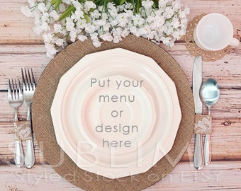 Styled Stock Photography / Plates / Mock up / Menu  / Wedding Menu / Place Setting / Table Stetting / JPEG Digital Image / StockStyle-491