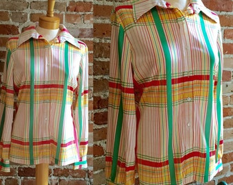 Women's Vintage/Retro 1970's Plaid Polyester Button Down Blouse
