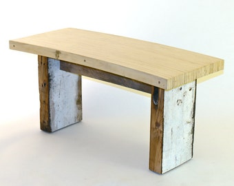 Reclaimed Wood Curved Bench