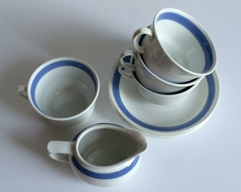 Vintage ARABIA of Finland Mocha/Coffee Cup and Saucer set w/Creamer | White with Blue Stripe | 1930s