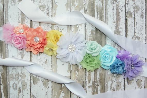 Pastel Rainbow Maternity Sash