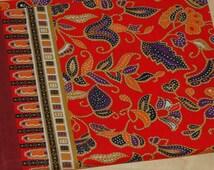 Cotton Border Print Fabric Yardage, Red, Purple, Orange