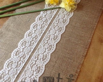 10ft Pretty Handmade Hessian and Lace Table Runner