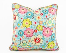 "Flower Pillow with Piping, Cushion Cover, Kids Pillows, Throw Pillow Kids, Childrens Pillows, Nursery Decor Bedding, 16"" x 16"" pink blue"