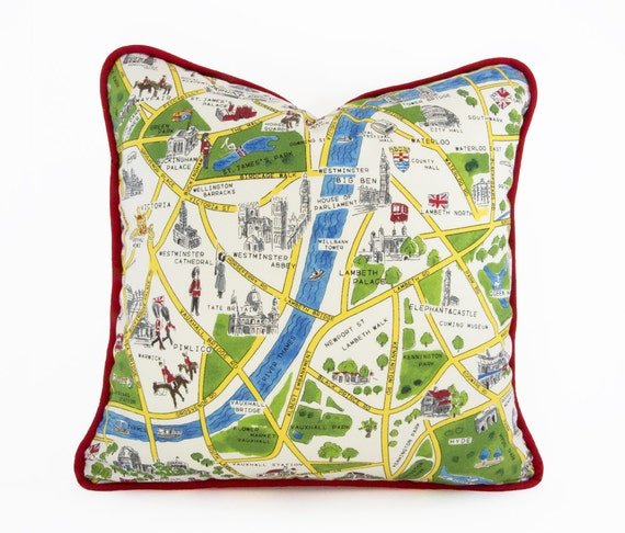 Decorative Pillows Travel Theme : London Map Pillow Cover with Piping Britain Travel Theme