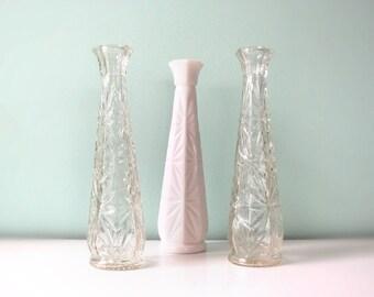 3 vintage glass vases