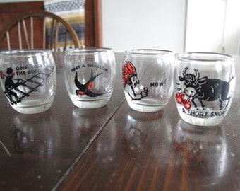 Set of Four Politically Incorrect Shot Glasses - Vintage Barware