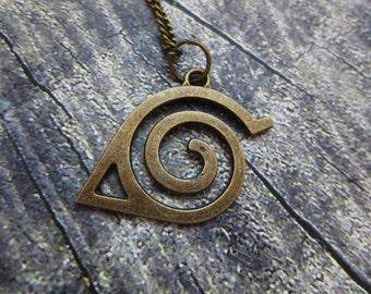 Necklace/Keychain Konoha Naruto antique bronze